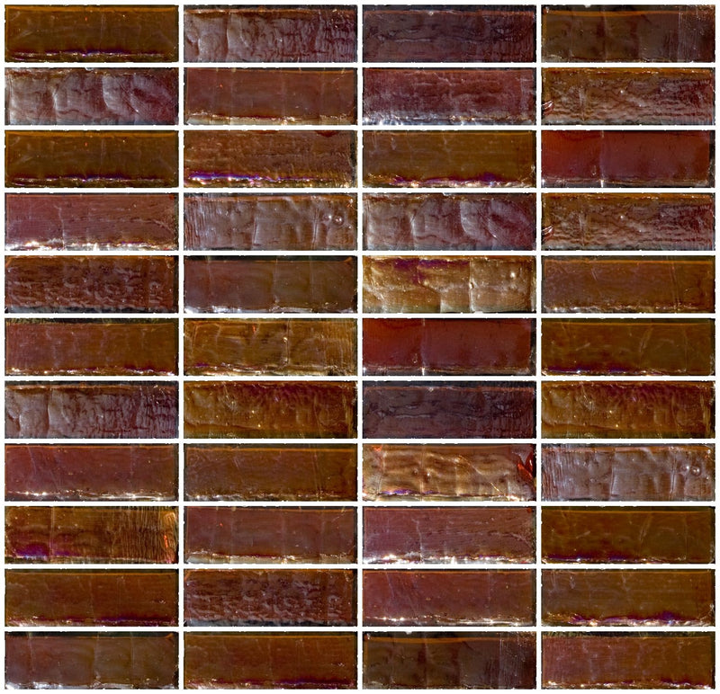 1x3 Inch Deep Brown Iridescent Glass Subway Tile Stacked