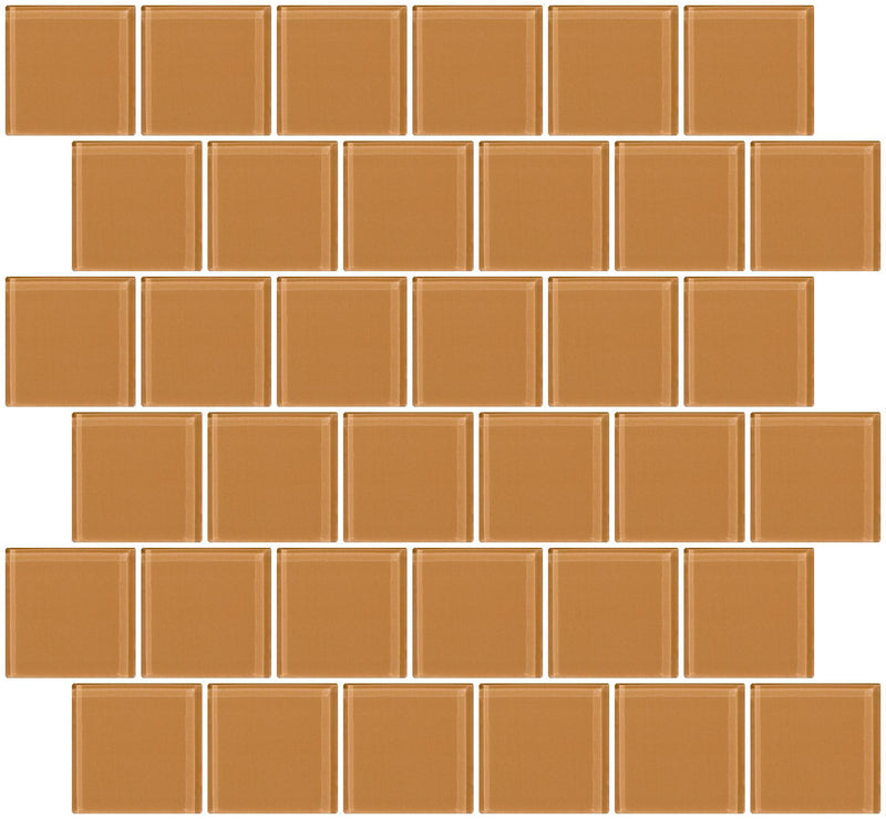 2x2 Inch Peach Beige Brown Glass Tile Offset