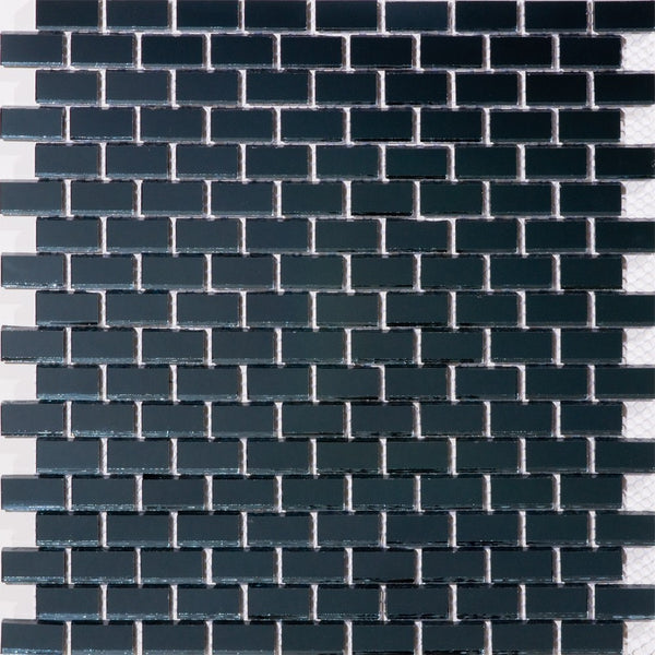 Full Sheet of 5/8 Inch Subway Dark Gray Mirror Glass Tile