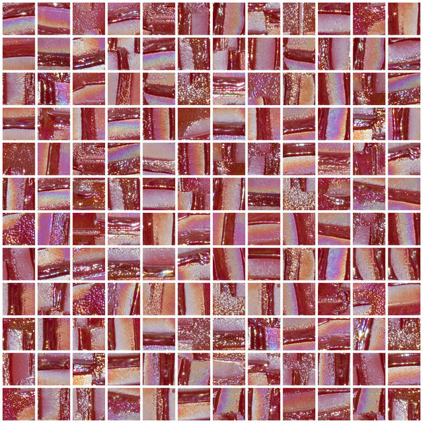 1 Inch Ruby Red Textured Recycled Glass Tile