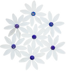 Daisy Chain | White Petals with Blue Iridescent Glass Tile Centers