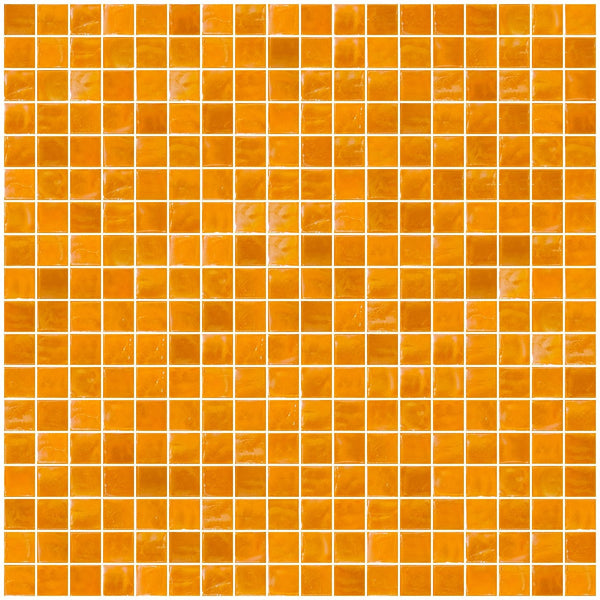 5/8 Inch Orange Yellow Iridescent Glass Tile