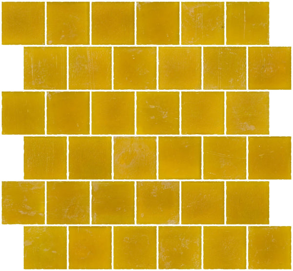 2x2 Inch Matte Deep Sunshine Yellow Glass Tile Reset In Offset Layout