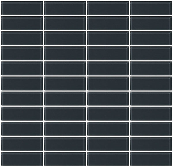 1x3 Inch Dark Gray Glass Subway Tile Stacked