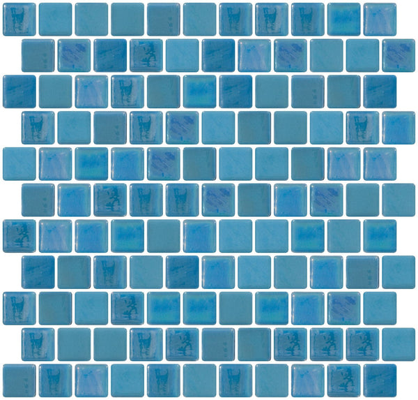 1 Inch Cornflower Blue Iridescent Recycled Glass Tile Offset
