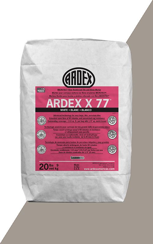 Ardex X77 Gray Microtec Fiber Reinforced Tile and Stone Mortar 20 lb Bag