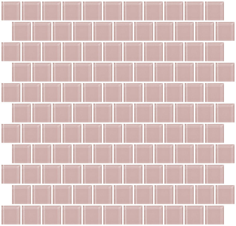 1 Inch Light Pink Glass Tile Reset In Offset Layout