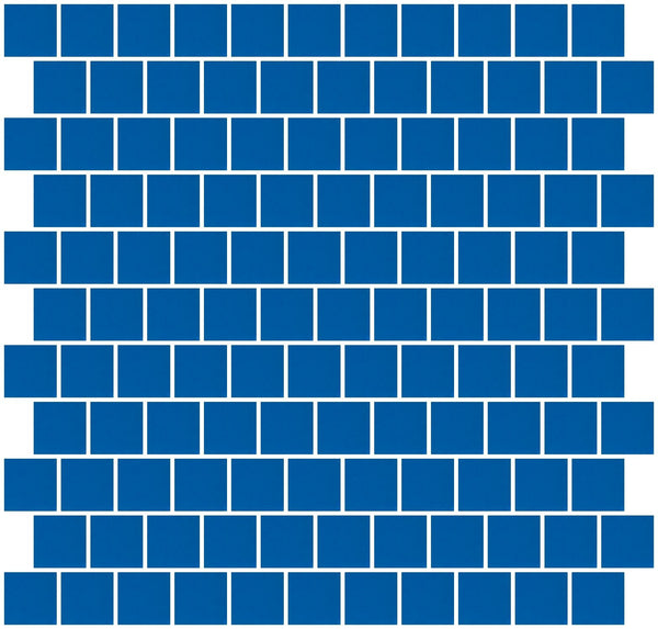 1 Inch Cobalt Blue Mirror Glass Tile Reset In Offset Layout