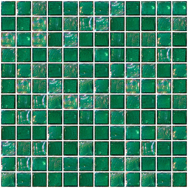 1 Inch Teal Blue Iridescent Glass Tile