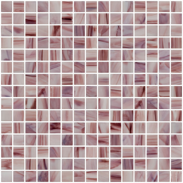 3/4 Inch Merlot and White Marbled Glass Tile