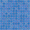 1 Inch Transparent Medium Blue Glass Tile