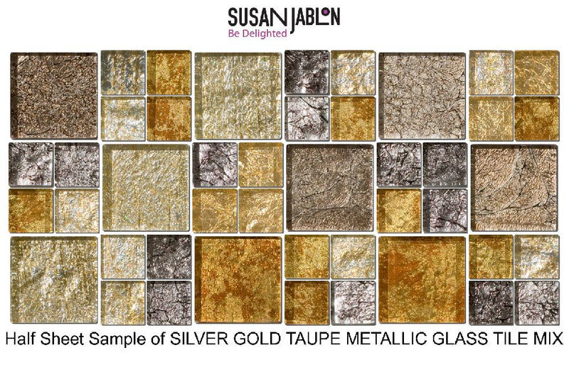 Half Sheet Sample of SILVER GOLD TAUPE METALLIC GLASS TILE MIX