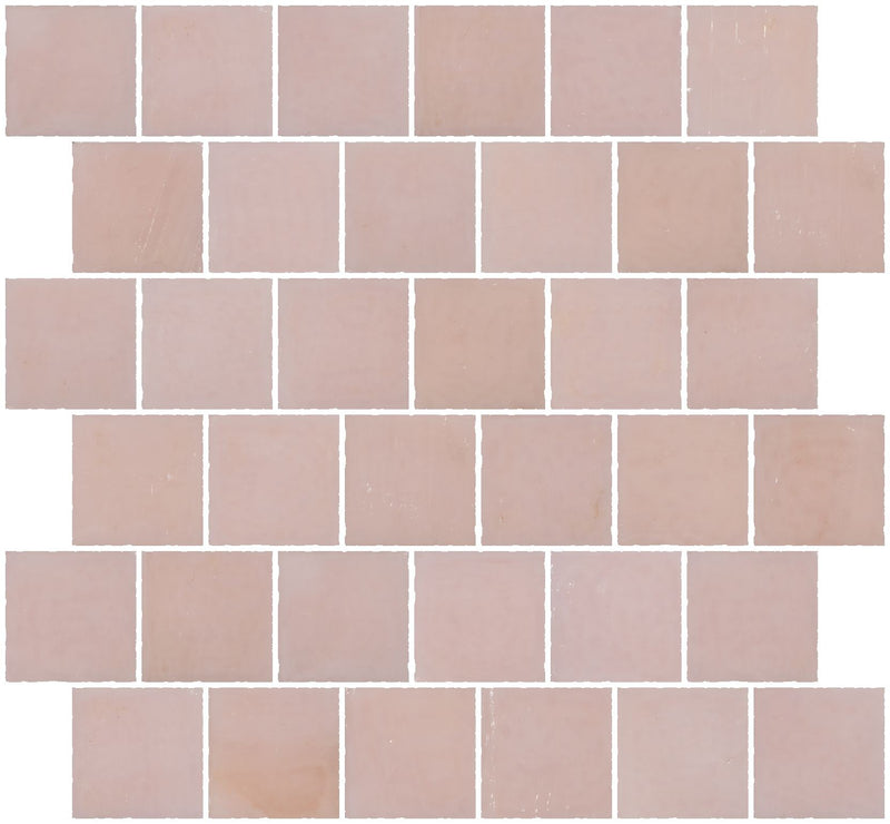 2x2 Inch Opaque Blush Pink Glass Tile Reset In Offset Layout