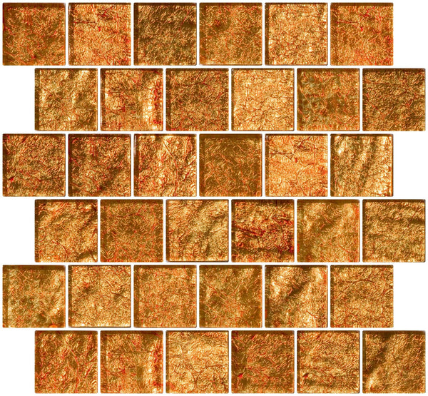 2x2 Inch Fire Bronze Metallic Glass Tile Reset In Offset Layout
