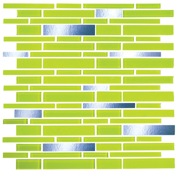 Bright Lime Green and Mirror Glass Tile