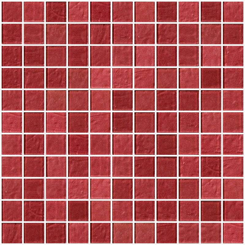 1 Inch Red Rose Metallic Glass Tile