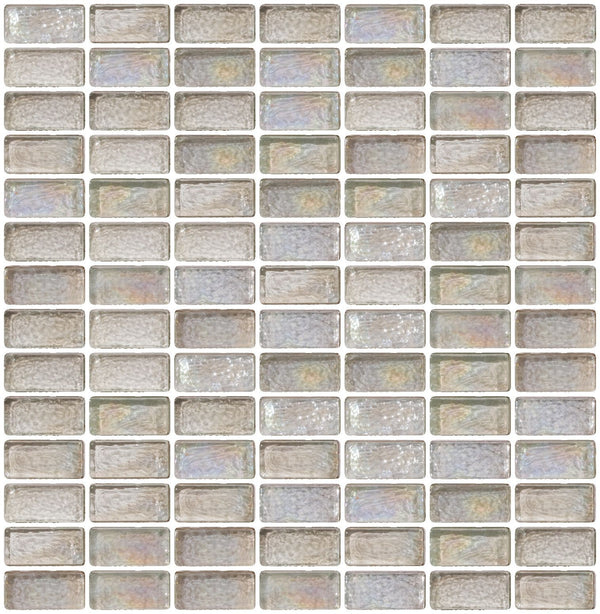 3/4 x 1 1/2 Inch Clear Iridescent Glass Subway Tile Stacked