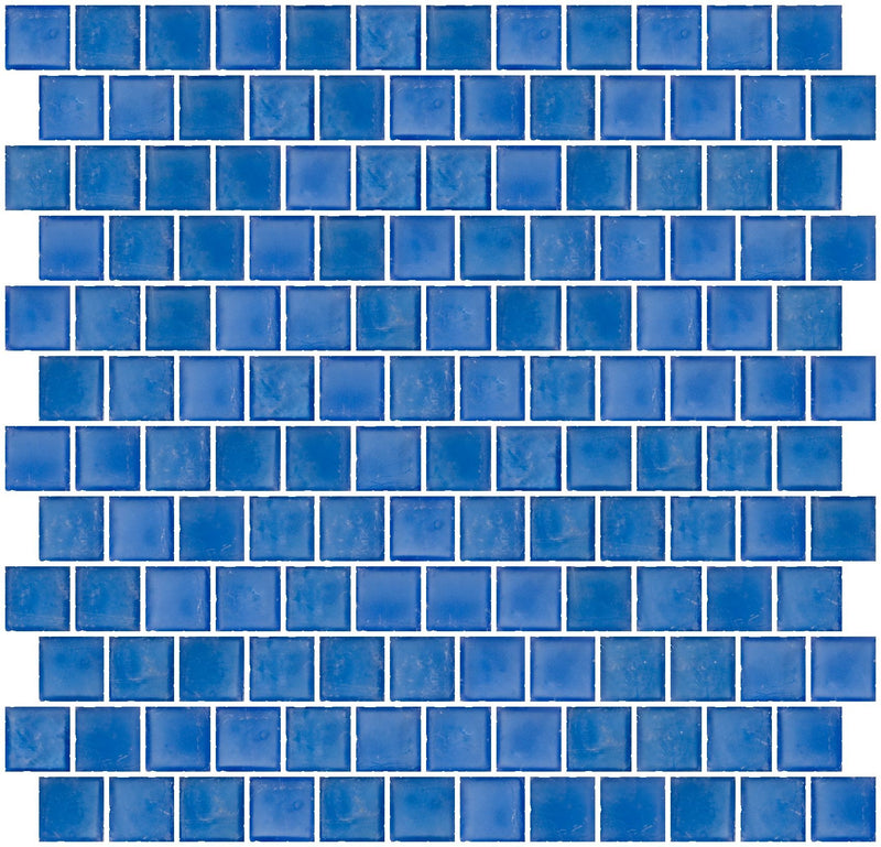 1 Inch Matte Medium Blue Glass Tile Reset In Offset Layout