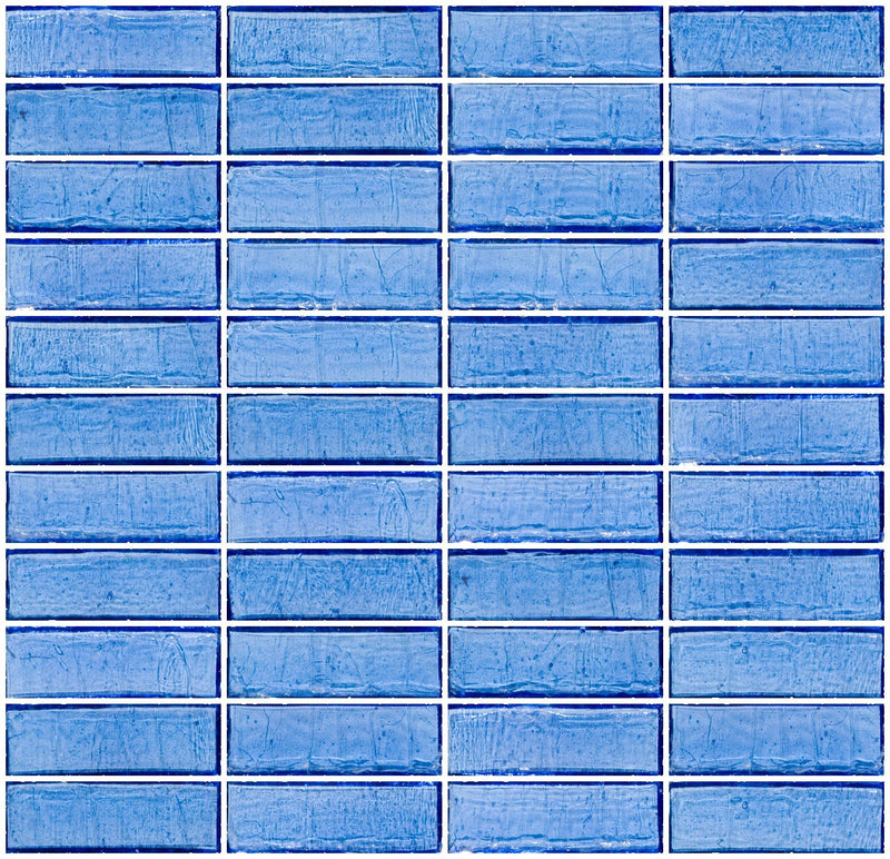 1x3 Inch Medium Blue Transparent Glass Subway Tile Stacked
