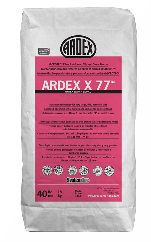 Ardex X77 White Microtec Fiber Reinforced Tile and Stone Mortar 40 lb Bag