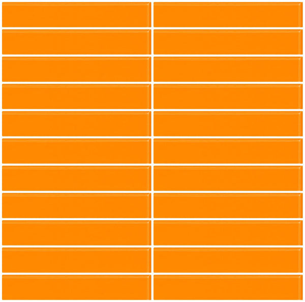 1x6 Inch Orange Glass Subway Tile