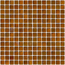 3/4 Inch Amber Brown Iridescent Glass Tile