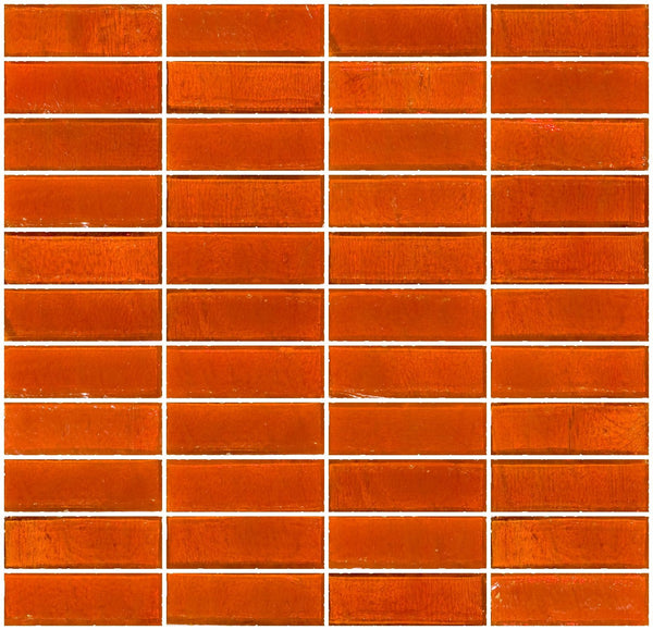 1x3 Inch Bright Orange Transparent Glass Subway Tile Stacked