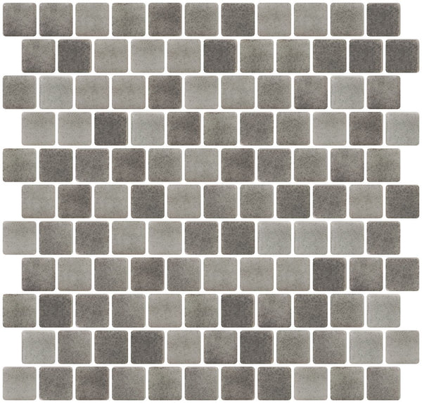 1 Inch Smoke Gray Dapple on White Recycled Glass Tile Offset