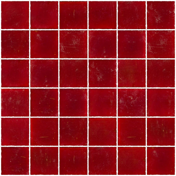 2x2 Inch Matte Red Glass Tile