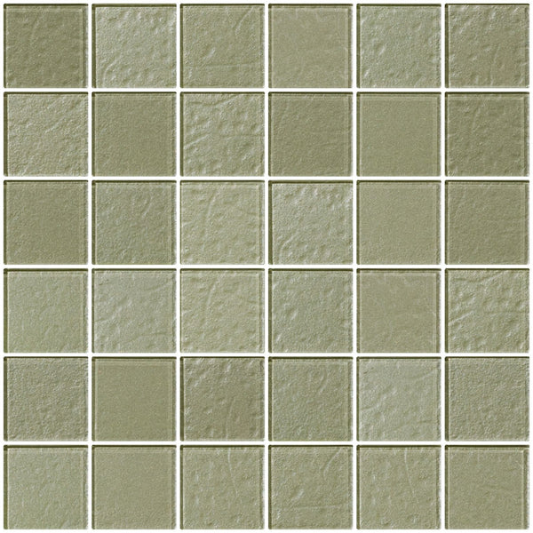 2x2 Inch Soft Sage Green Metallic Glass Tile
