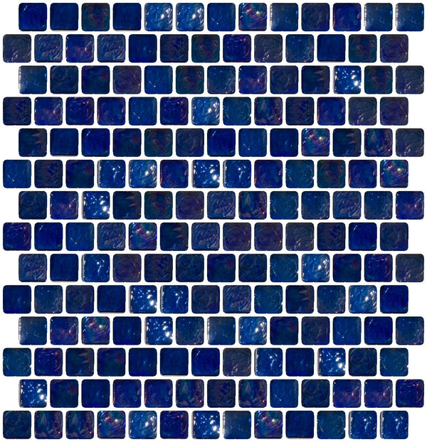 3/4 Inch Cobalt Blue Iridescent Glass Tile Offset