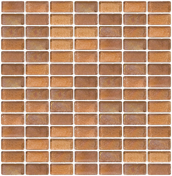 3/4 x 1 1/2 Inch Blush Iridescent Glass Subway Tile Stacked