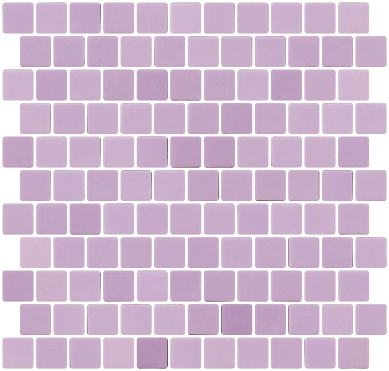 1 Inch Lilac Purple Recycled Glass Tile Reset In Offset Layout