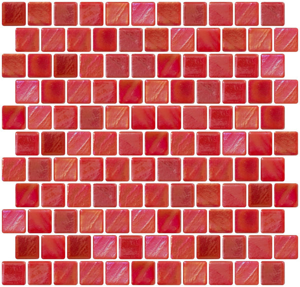 1 Inch Red Iridescent Recycled Glass Tile Offset