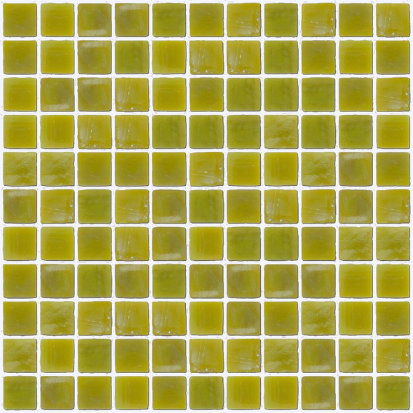 1 Inch Chartreuse Iridescent Glass Tile