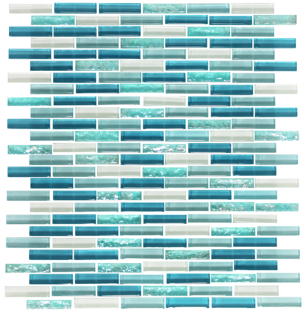 Turquoise Blue Mini Subway Glass Tile Mosaic