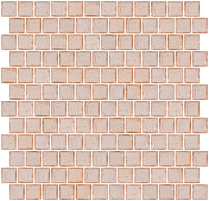 1 Inch Transparent Blush Pink Glass Tile Reset In Offset Layout