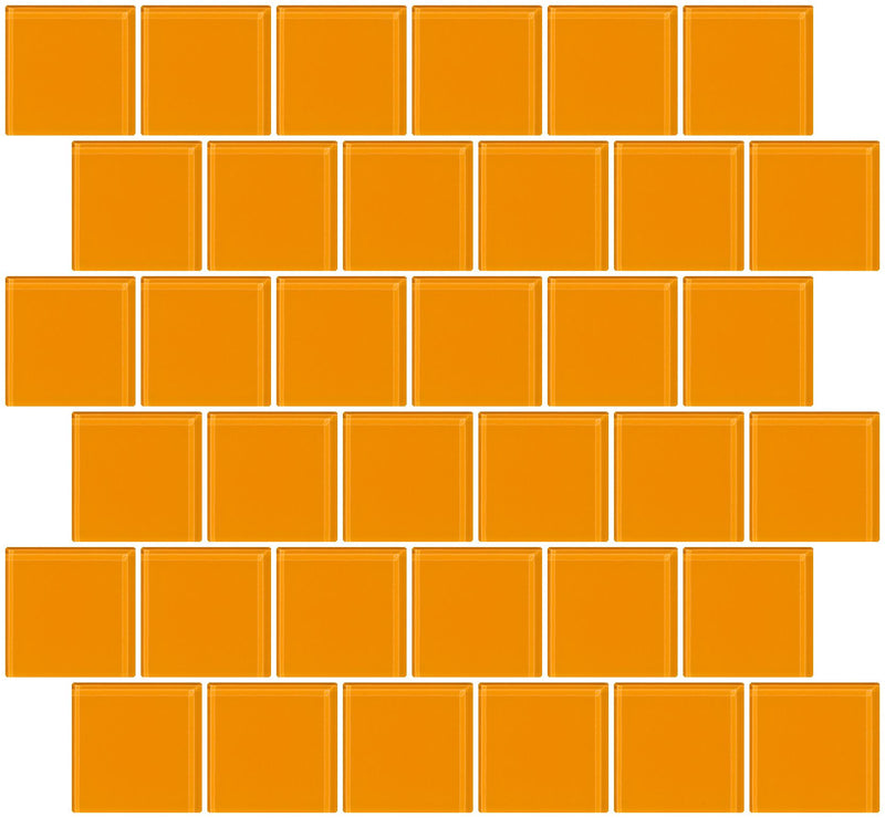 2x2 Inch Light Orange Glass Tile Offset
