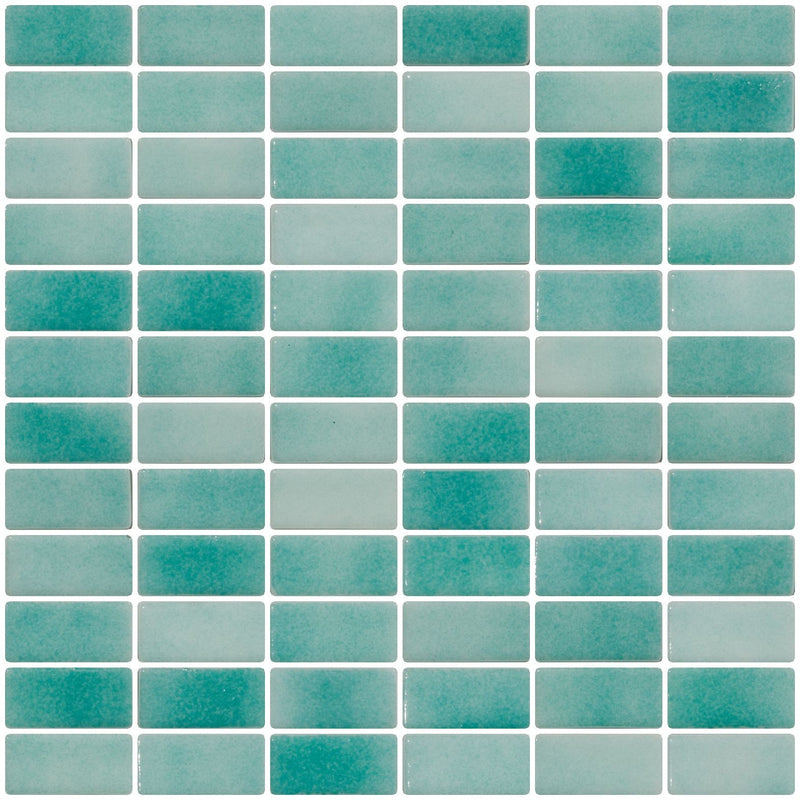 1x2 Inch Sea Foam Blue Dapple on White Recycled Glass Subway Tile