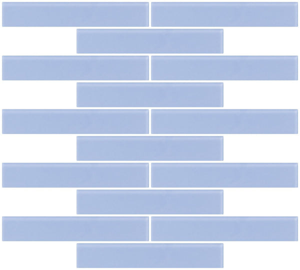 1x6 Inch Light Periwinkle Blue Frosted Glass Subway Tile Reset In Running-brick Layout
