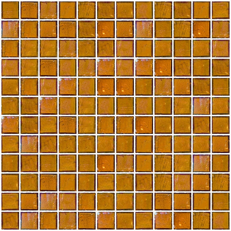 1 Inch Amber Brown Iridescent Glass Tile