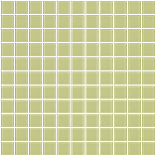 1 Inch Celery Green Glass Tile