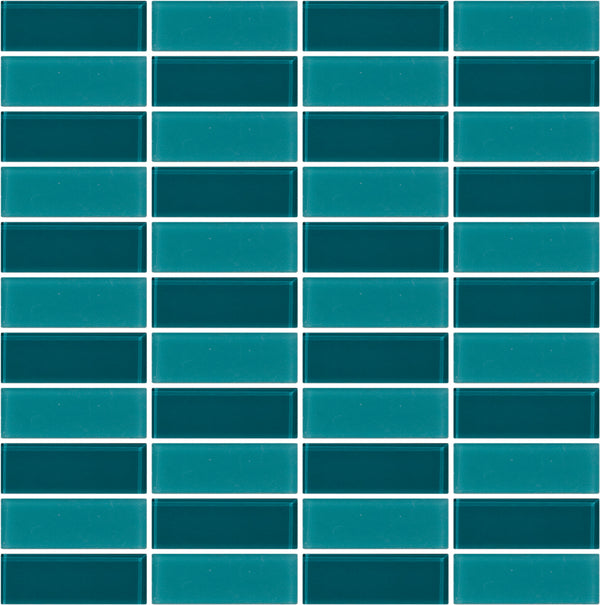 Tuxedo Medium Teal Mosaic Tile Design