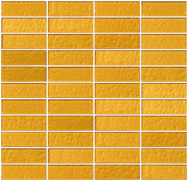 1x3 Inch Bright Gold Metallic Glass Subway Tile Stacked