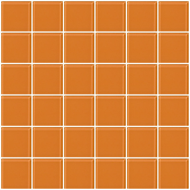 2x2 Inch Apricot Orange Glass Tile