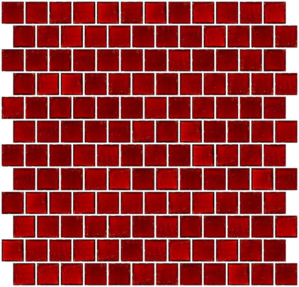 1 Inch Transparent Red Glass Tile Reset In Offset Layout