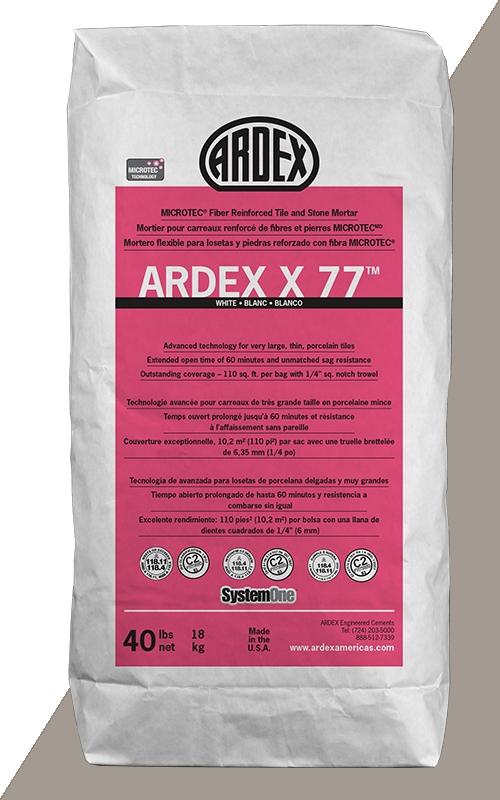 Ardex X77 Gray Microtec Fiber Reinforced Tile and Stone Mortar 40 lb Bag