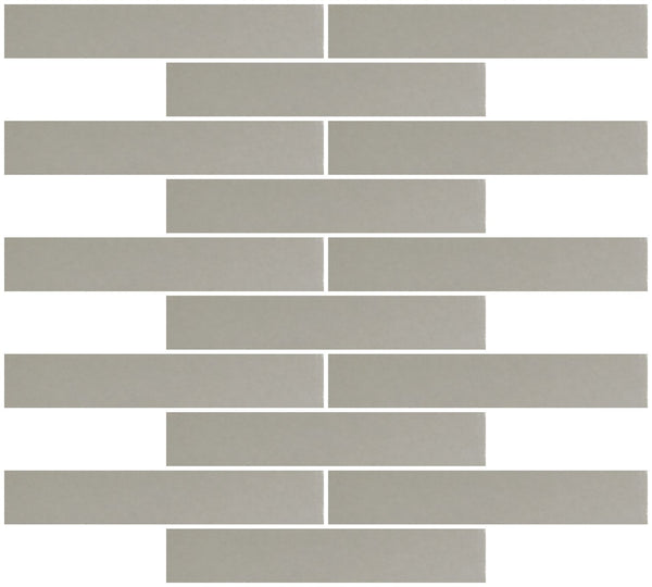 1x6 Inch Silver Mirror Glass Subway Tile Reset In Running-brick Layout