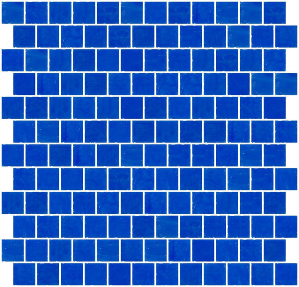 1 Inch Opaque Cobalt Blue Glass Tile Reset In Offset Layout