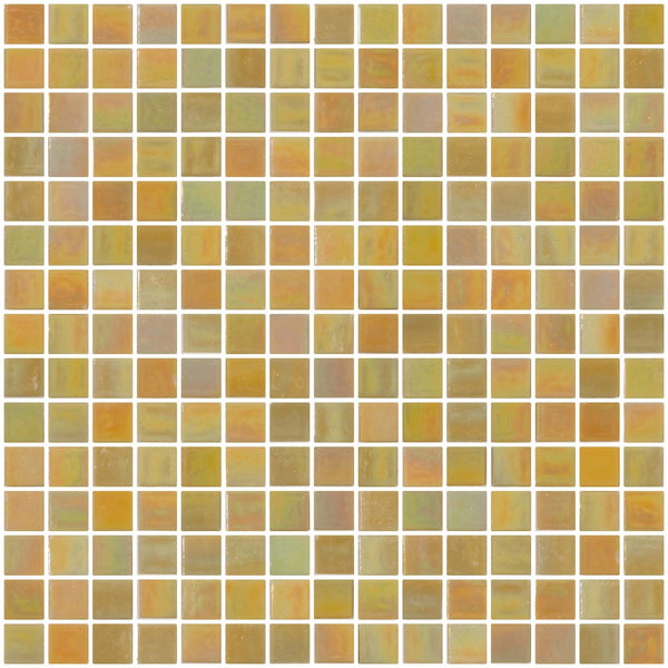 3/4 Inch Yellow Mustard Shimmer Iridescent Glass Tile